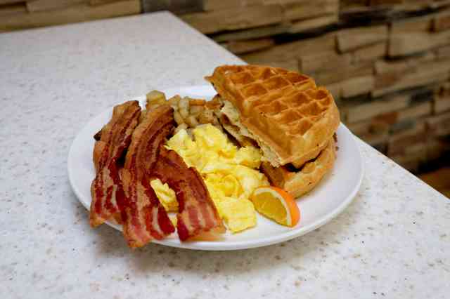 Waffles, Bacon, Eggs, and potatoes