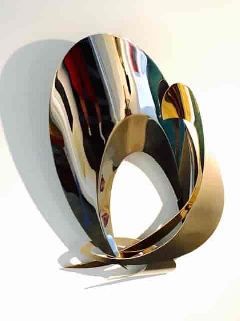 """BI-MET SERIES 4 - STAINLESS STEEL AND BRONZE - 22"""" x 16"""" x 4"""" (sculpture)"""