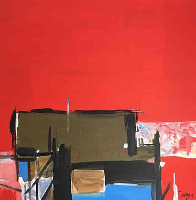 """Alone"" Mixed media on canvas- 36 x 36"