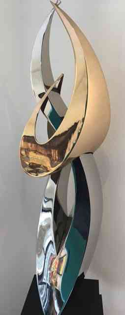 """""""DOUBLE ENTENDRE"""" - BRONZE AND STAINLESS STEEL - 38"""" x 18"""" x 10"""" (sculpture)"""
