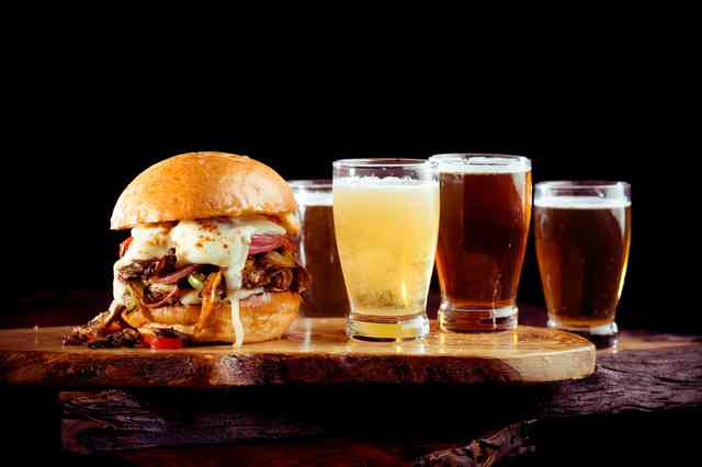 burger and beer flight