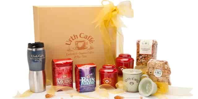 Deluxe gold gift box with coffee, tumbler, tea tins, mug, granola