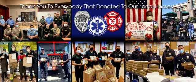 Montage of First Responders with Urth Caffé Lunch boxes and brown paper Food Bags
