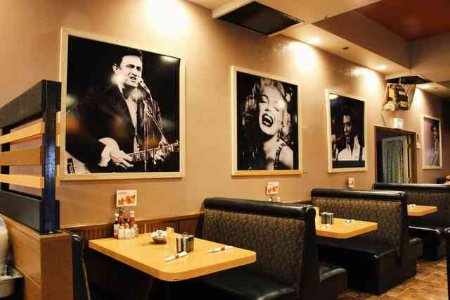 Restaurant dining room with wall art