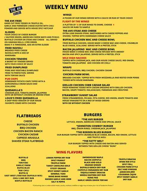 Temporary weekly menu