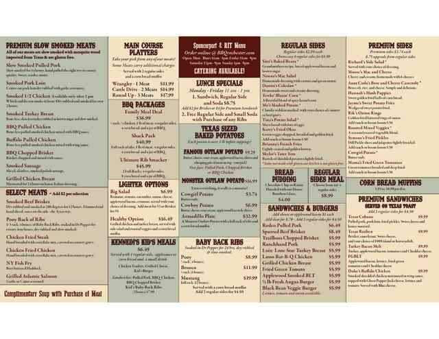 Photo menu Spencerport rit