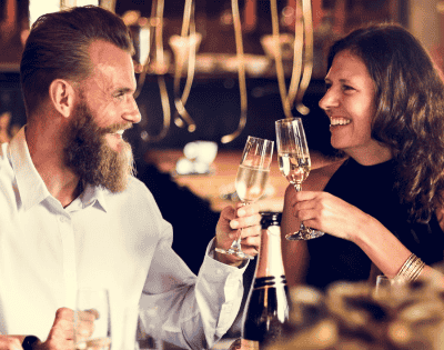 bearded man with woman