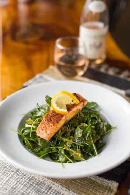 salmon on salad