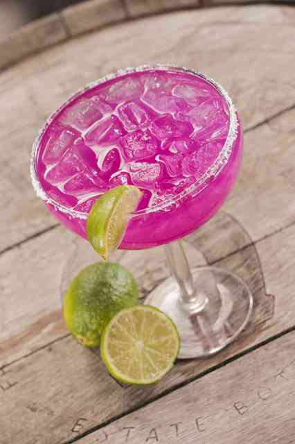 Handcrafted prickly pear margarita.