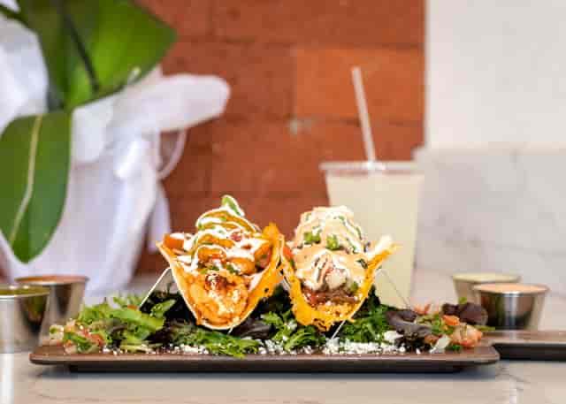 Shrimp and steak tacos