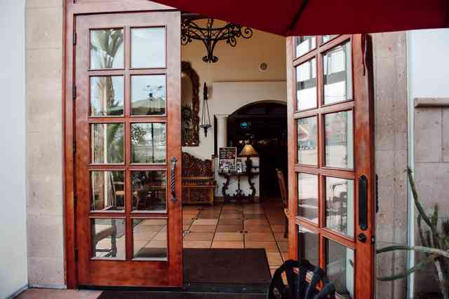 open door to restaurant