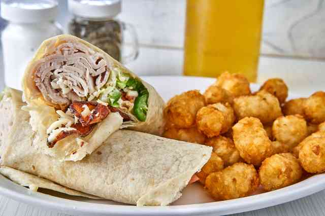 chicken bacon wrap with tater tots