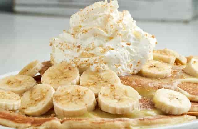 banana pancakes with whipped cream