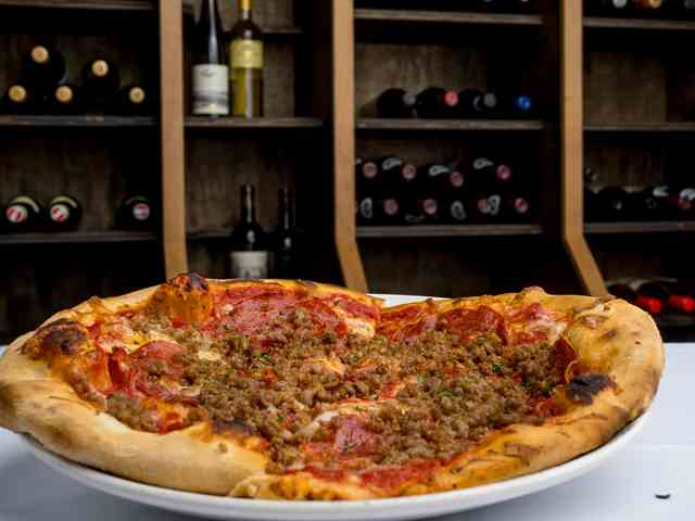 pizza with meat