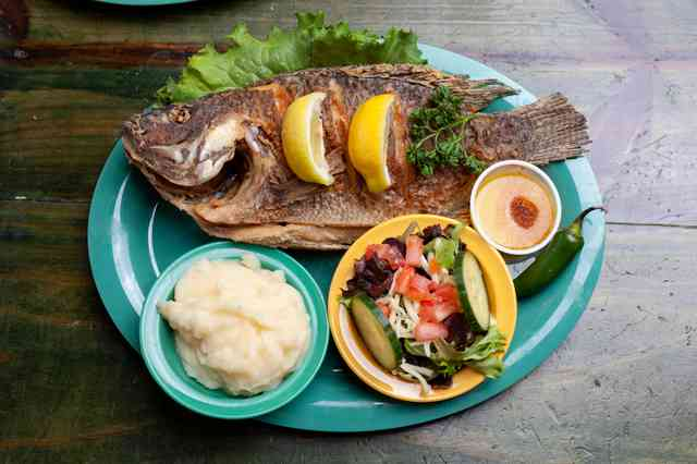 mojarra fried fish with sides