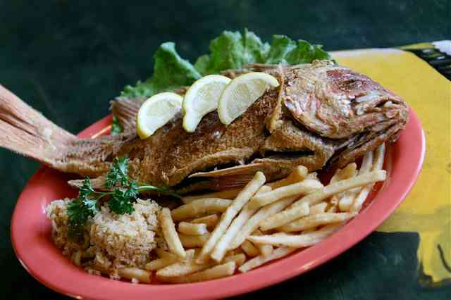whole fried fish and fries