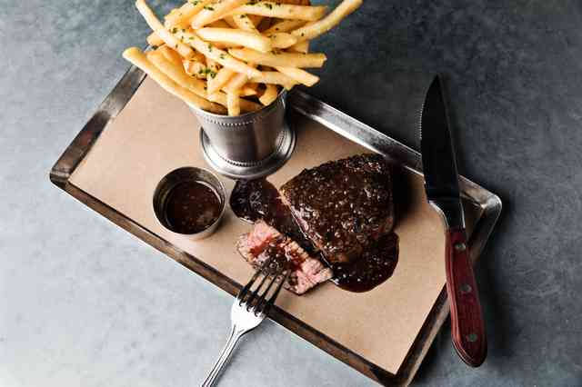 Steak Frittes, Certified Angus Filet, Hand Cut French Fries, Pepper Sauce