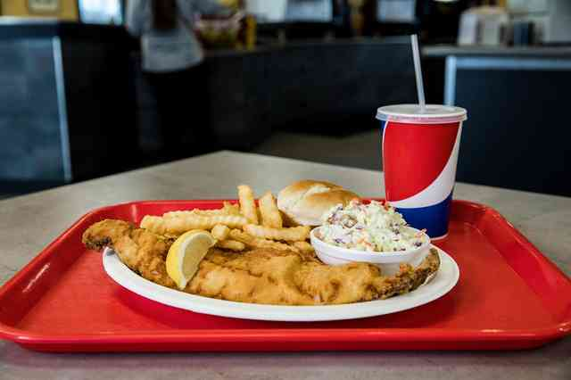 fried fish, french fries and cole slaw