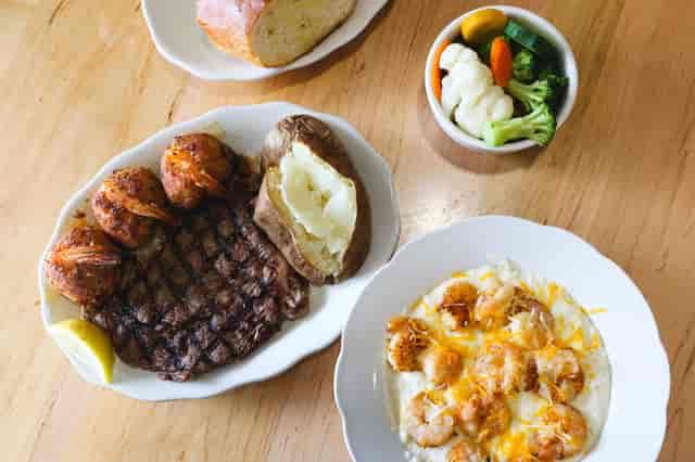 Shrimp and Grits + Ribeye Steak