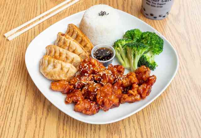 orange chicken potstickers combo