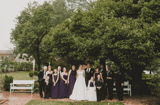 wedding party by tree