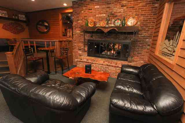 fireplace and couches