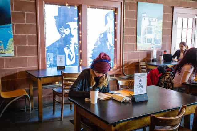 girl studying at taste