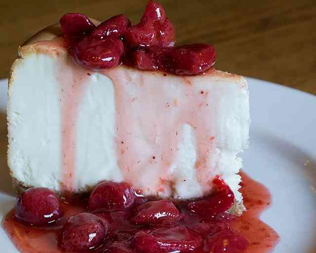 New York Style Cheesecake with Strawberry Sauce