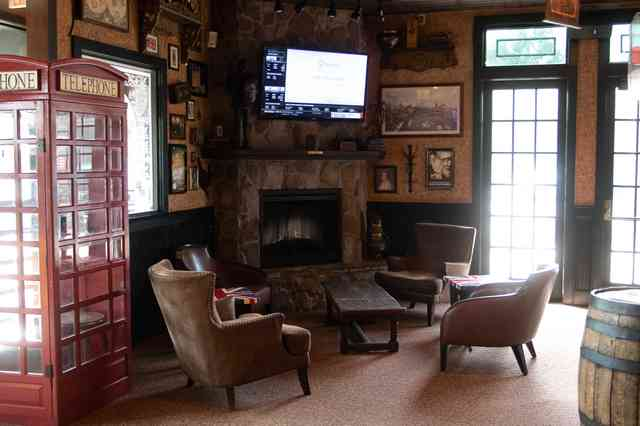 Old english styled lounge and fire place