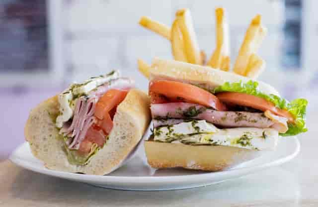 tomato mozzarella sandwich and fries