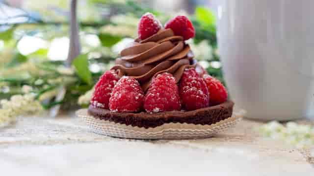 chocolate and rasberry pastry