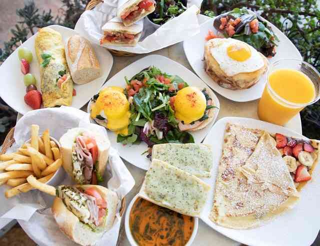 assorted sandwiches and salads