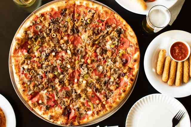 pizza and mozzarella sticks