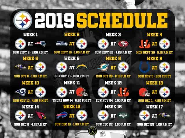 steelers 2019 schedule