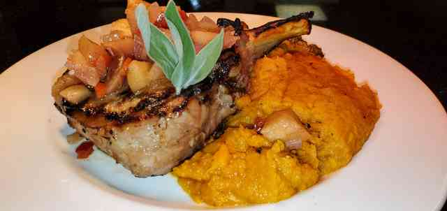 Apple Cider Brined, Whipped Sweet Potatoes, Roasted Brussel Sprouts with Pancetta and a Sweet Apple Chutney