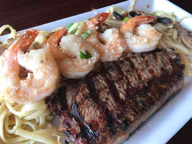 Angus Sirloin and Shrimp