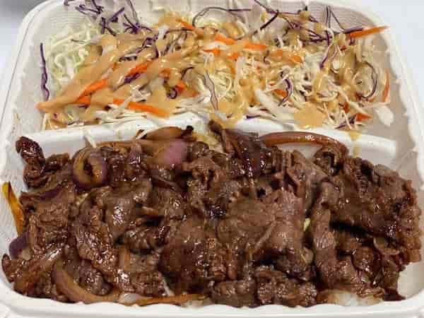 Beef Bulgogi Plate w/Asian Slaw (sub Mac Salad o.k.)