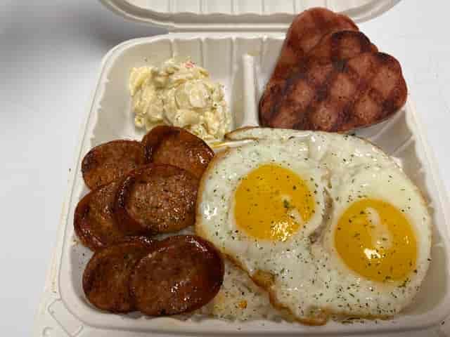 Portugese Sausage, Spam & Eggs Platter