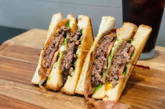 double decker burger with sweet potato fries