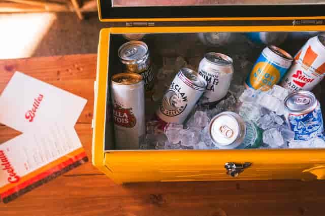 cooler of drinks