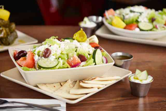 classic greek salad with beef