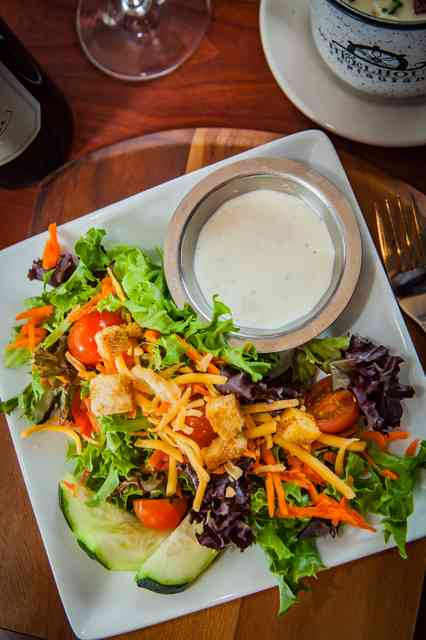 house salad with clam chowder