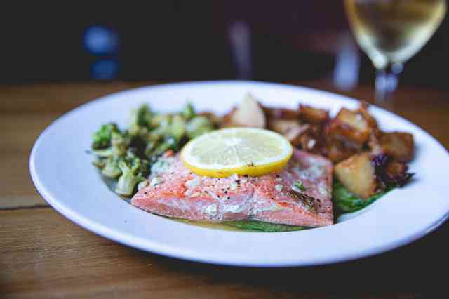 Salmon with seasonal vegetables