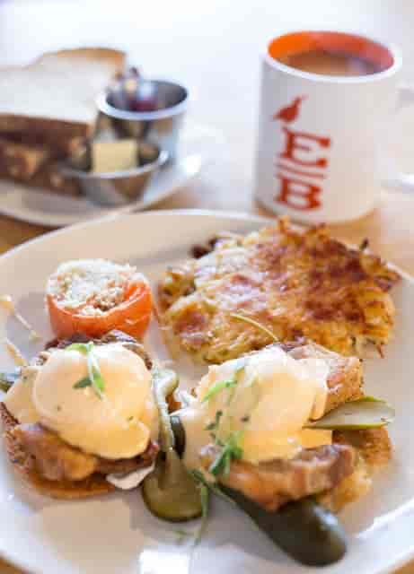 Breakfast platters and coffee