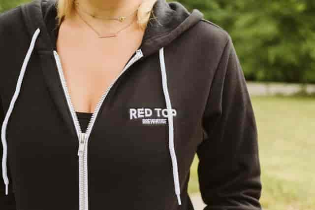 zip up black hoodie with wordmark on left breast