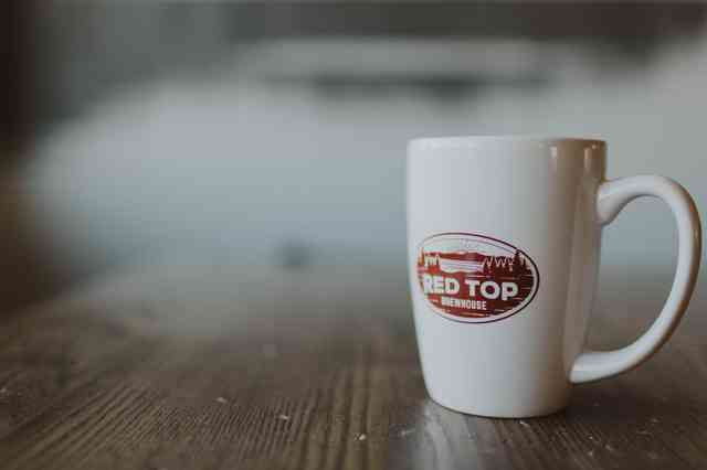 White porcelain coffee mug with oval Red Top logo