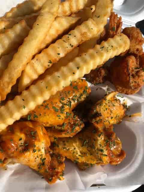 Wings and Crinkle Cut Fries