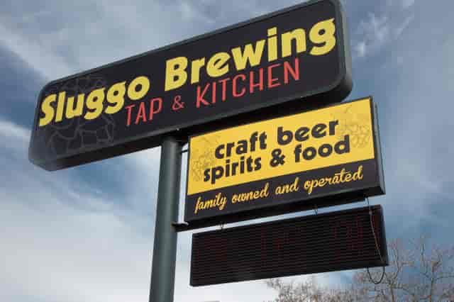 sluggo brewing sign