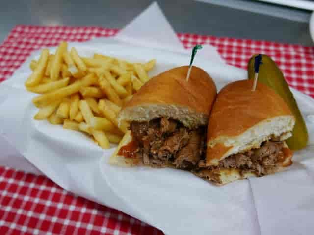 steak sandwich with fries