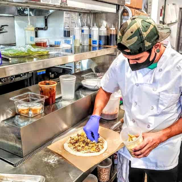 Staff preparing a meal
